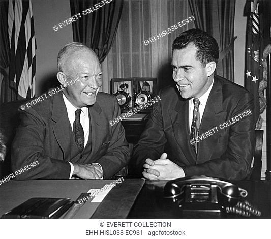 President Eisenhower meeting the VP Richard Nixon in the Oval Office. August 1954. Nixon functioned as the Eisenhower administration's link with Congress and as...