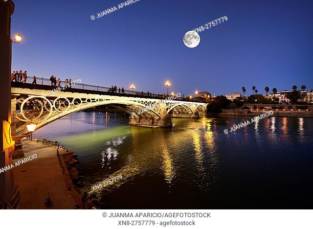 Isabel II bridge (Triana Bridge) at Sunset, Sevilla, Spain, Europe,