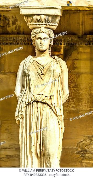 Porch Caryatids Greek maidens Ruins Temple of Erechtheion Acropolis Athens Greece. Acropolis symbol of Athens