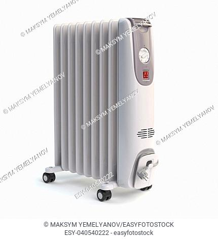 Electric oil heater isolated on white background. 3d illustration