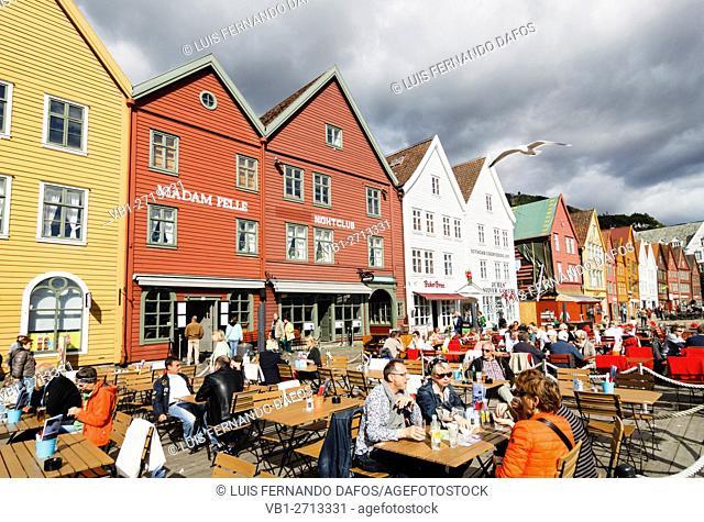 Outdoor terraces at Bryggen, Bergen, Norway
