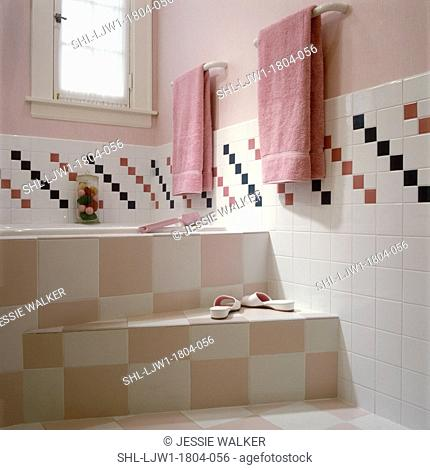 BATHROOMS - Contemporary bath, pale pink and white tiled steps to bath, partial tiled wall with checkered pattern, pale pink walls, pink towels on racks