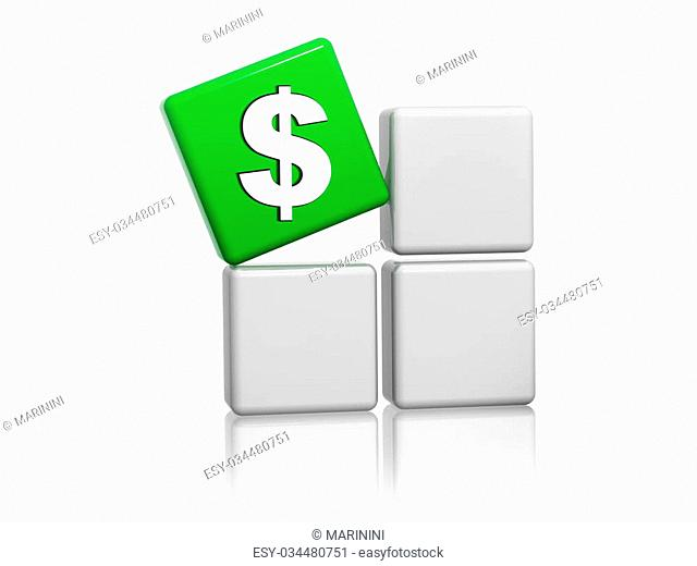 dollar sign - 3d green cube with american money symbol on grey boxes, business finance concept