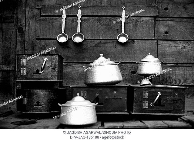 Kitchen utensils Manali market Himachal Pradesh India Asia 1982