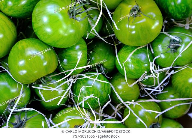 Green tomatoes, Borough Market, London, United Kingdom