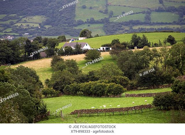 rural hill sheep farm in glens of county antrim near carnlough northern ireland