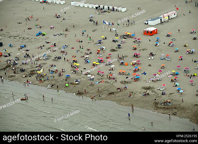 an aerial view of the beach in Koksijde taken from a helicopter, flying along the Belgian coast, Saturday 08 August 2020. BELGA PHOTO ERIC LALMAND