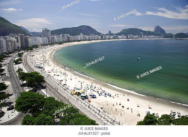 Scenic view of beach and city, Copacabana, Rio de Janeiro, Brazil