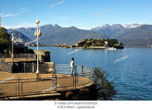 View over Isola Bella, Borromean Islands, Lake Maggiore, Piedmont, Italy