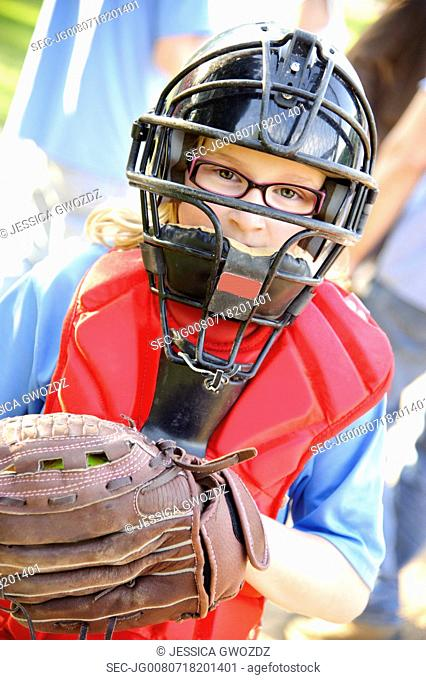 Portrait of young female catcher (10-12)
