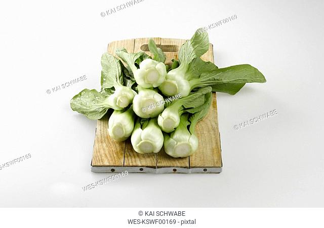 Bok choy, Chinese celery cabbage on chopping board