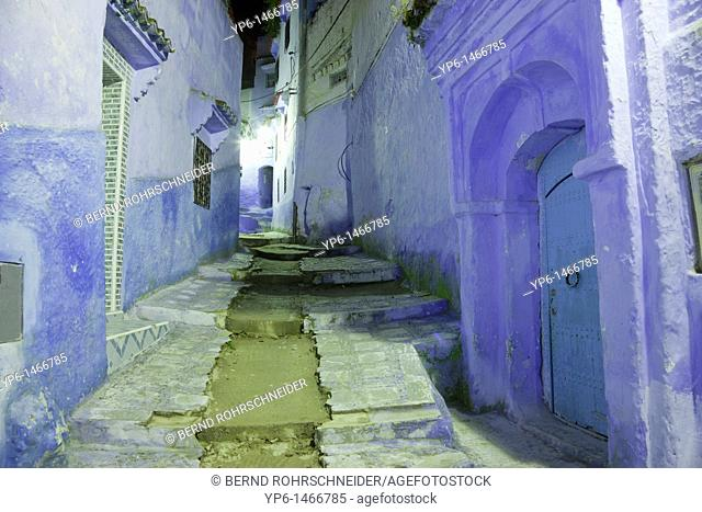 alley with blue houses and stairway at night, Chefchaouen, Morocco