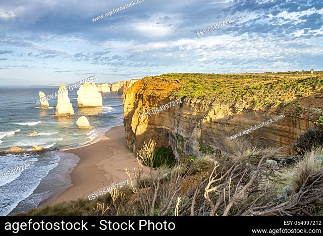 Sunset view of Twelve Apostles along Great Ocean Road, Australia