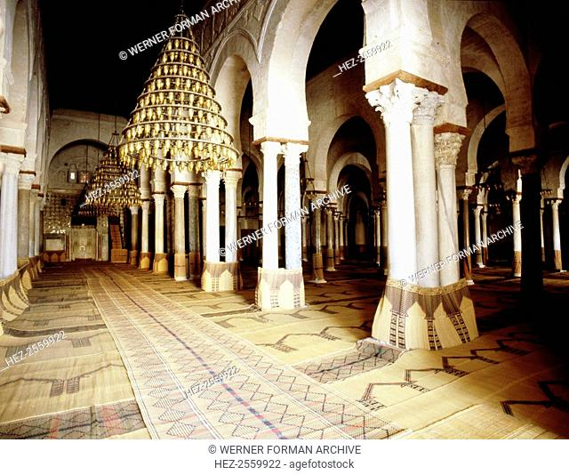 The interior of the Great Mosque at Kairouan, one of the oldest Islamic buildings and the first important one in North Africa
