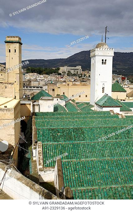 North Africa, Morocco, City of Fez (Fes), Medina, view on the al karaouine historic mosque green tiles roofs from Mama Africa cafe terrace owned by Mr Karim...
