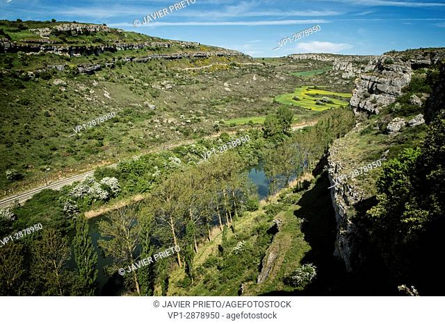 The river Pisuerga and the canyon of La Horadada as it passes through the Las Tuerces Natural Monument. World Geopark Las Loras. UNESCO Global Geopark