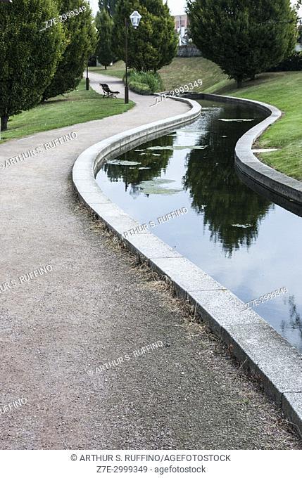 Tranquil pedestrian green area. Harfleur, Seine-Maritime Department, Normandy Region, France, Europe