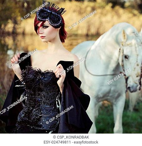 Black queen with huge pure white horse