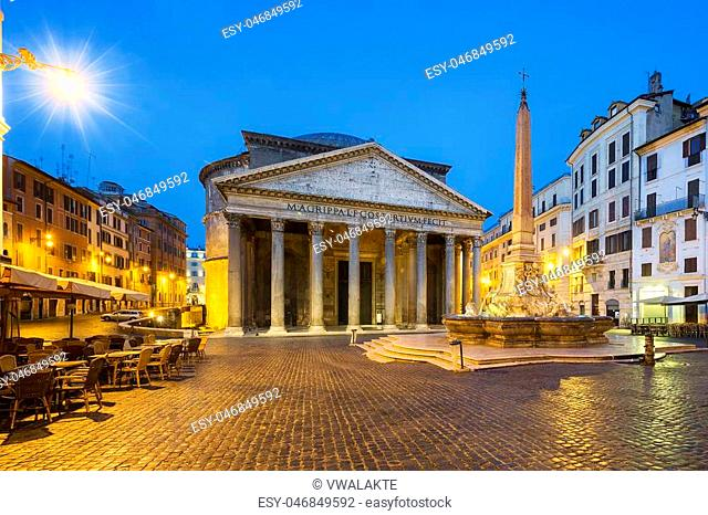 Pantheon by night, Rome, Italy, Europe