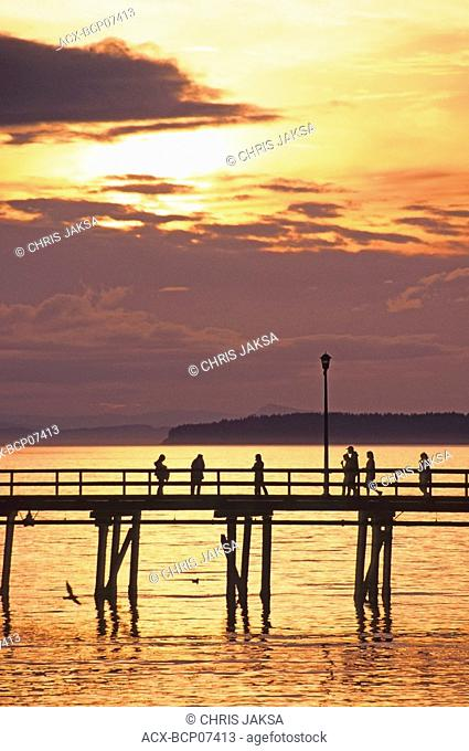 The 500m-long White Rock Pier & Boundary Bay at sunset, White Rock, British Columbia, Canada