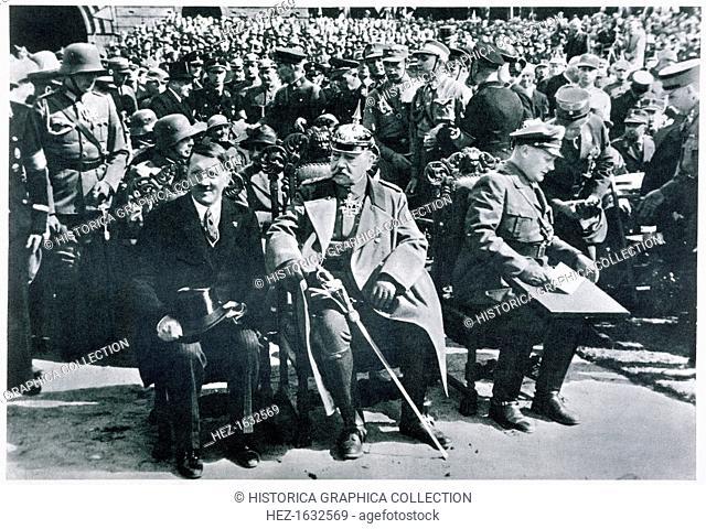 Adolf Hitler, President von Hindenburg and Hermann Goering, Tannenberg, Germany, 27th August, 1933. Hindenburg (1847-1934) with Chancellor Adolf Hitler...