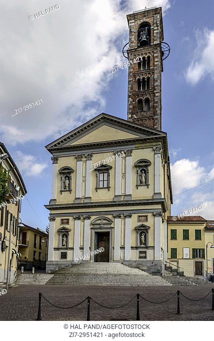 view of main prospect of Ambrogio and Simpliciano church, shot in bright late summer light at Carate Brianza, Monza, Italy