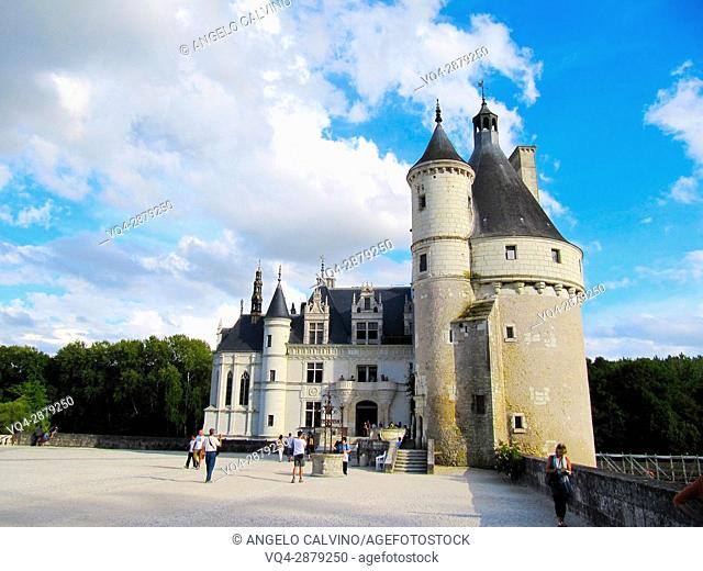 Castle of Chenonceau, built from 1513 to 1521 in Renaissance style, over the Cher river, Indre et Loire, France.