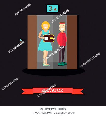 Vector illustration of doorman standing with guest female in elevator. Hotel lift operator concept design element in flat style