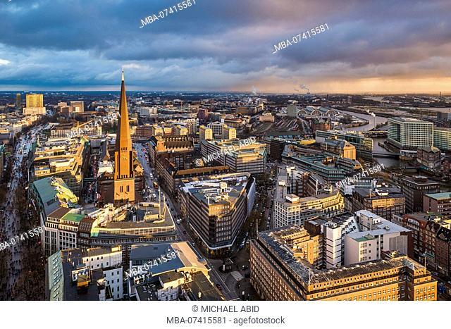 Aerial view of the skyline of Hamburg, Germany