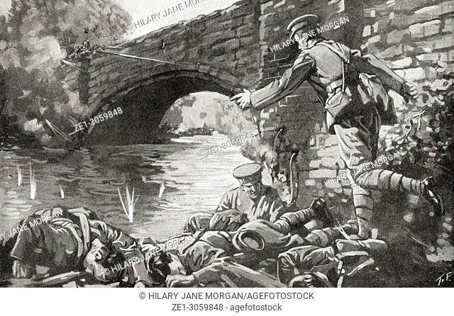 British Royal Engineers killed whilst attempting to light the fuse and blow up a bridge crossing the River Aisne at Soissons, France during WWI