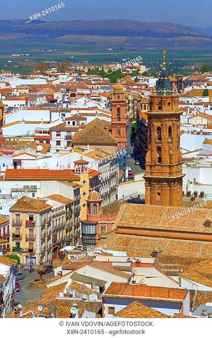 Cityscape from castle tower, Antequera, Andalusia, Spain