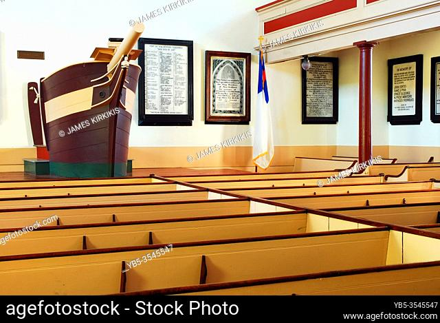The pulpit of the Old Whalersâ. . Church in New Bedford, Massachusetts is shaped like a shipâ. . s bow