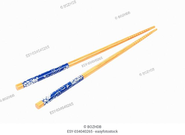Wood chopsticks isolated on the white background
