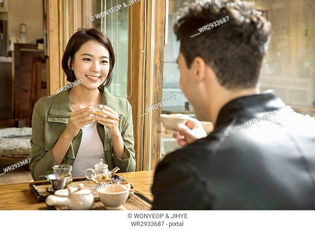 Young smiling couple dating