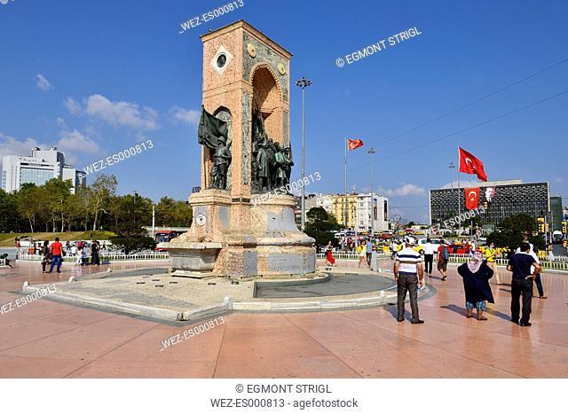 Turkey, Istanbul, Taksim Meydani or square, Monument with Kemal Atatuerk