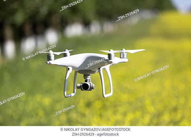An unmanned aerial vehicle in flight
