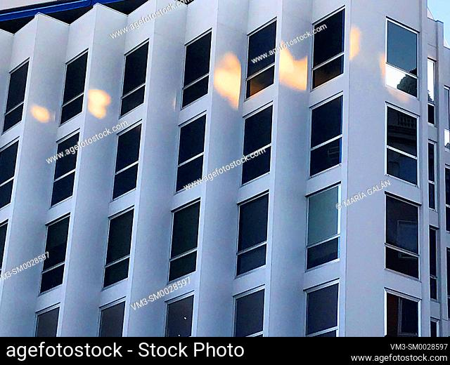 Facade of modern building. Madrid, Spain