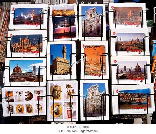 Close-up of a postcard rack, Florence, Italy