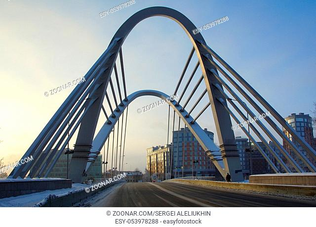 Winter frosty morning and Lazarevsky bridge in St. Petersburg, Cable-stayed bridge