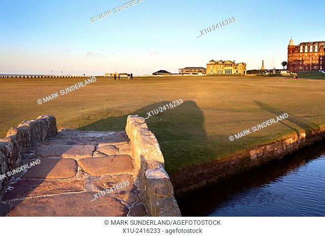 The Old Course and Royal and Ancient Golf Club from Swilken Bridge St Andrews Fife Scotland