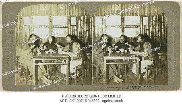 Chinamen eating in a restaurant. Canton, China, Canton, C.H. Graves & Universal Photo Art Co., 1902