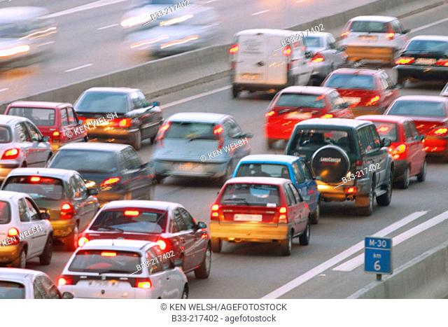 Traffic at M-30 freeway. Madrid. Spain