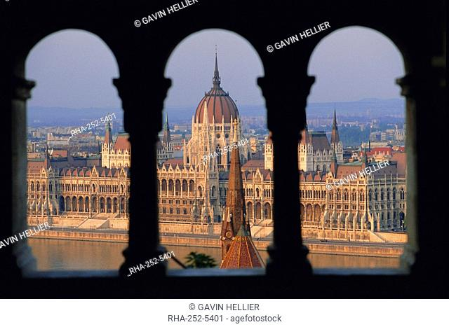 Parliament building and the Danube River from the Castle district, Budapest, Hungary, Europe