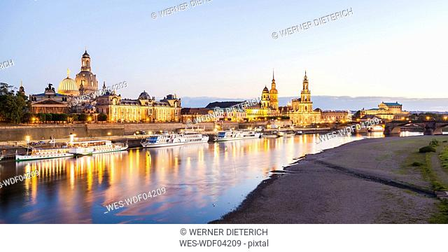 Germany, Dresden, City view with Elbe river