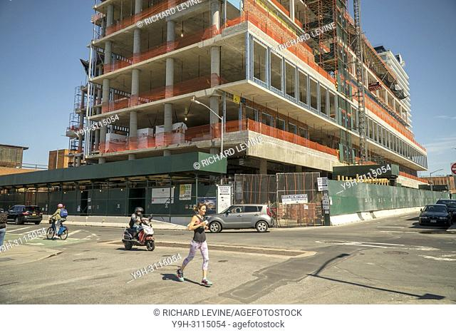 Residential construction in the Williamsburg, Brooklyn neighborhood in New York on Sunday, April 22, 2018. (© Richard B. Levine)