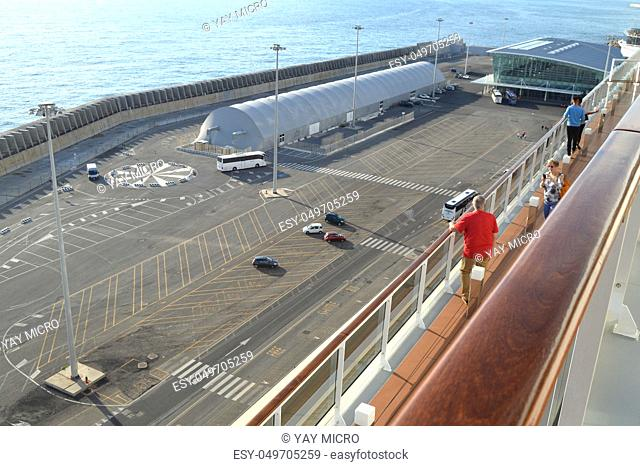 Parking and terminal scene from the cruise ship, top view, Civitavecchia, Italy, 7 October 2018