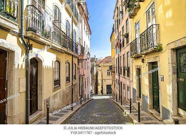 Charming Bairro Alto district in Lisbon, Portugal