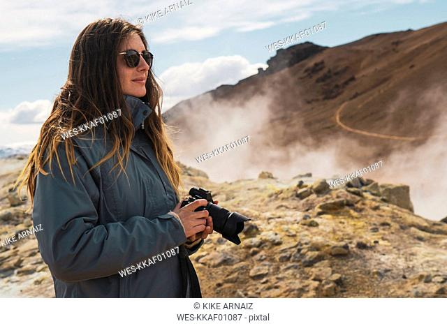 Iceland, Hverarond field, female photographer
