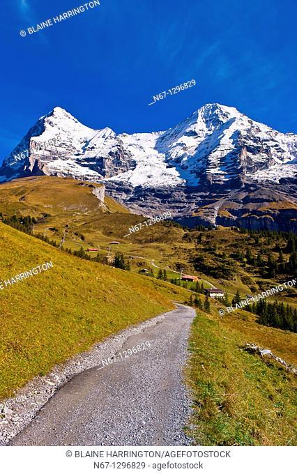 Hiking in the Swiss Alps from Eigergletscher down to Wengernalp Eigergletscher in background, Kleine Scheidegg, Canton Bern, Switzerland