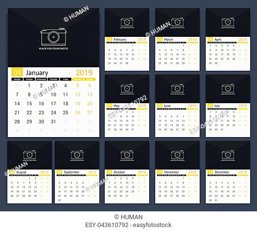 2019 Calendar template, week starts on Monday, a3 size, place for your photo, vector eps10 illustration